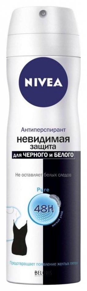 Купить Спрей для тела Nivea, Дезодорант-спрей Невидимая защита для черного и белого Pure, Германия