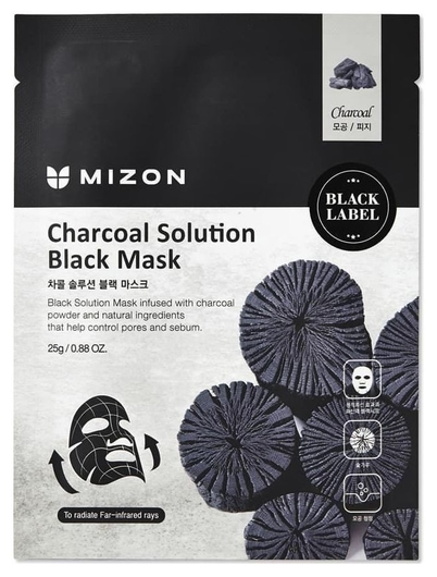 Mizon маска для лица C древесным углем Charcoal Solution Black Mask  Mizon