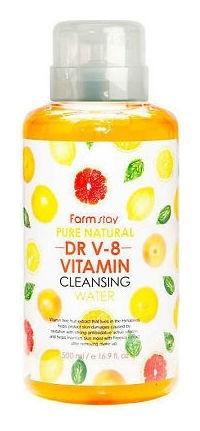 Очищающая вода с витаминным комплексом Pure Natural DR V-8 Vitamin Cleansing Water FarmStay DR.V8