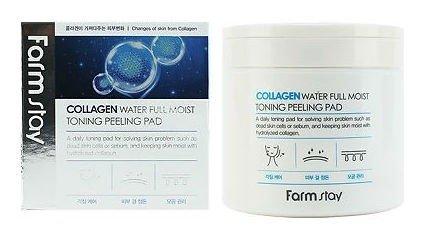 Отшелушивающие очищающие подушечки с коллагеном Collagen Water Full Moist Toning Peeling Pad  FarmStay