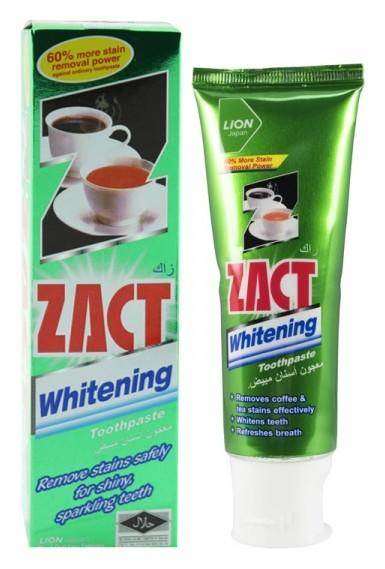 Зубная паста отбеливающая для любителей кофе и чая Zact Whitening  LION