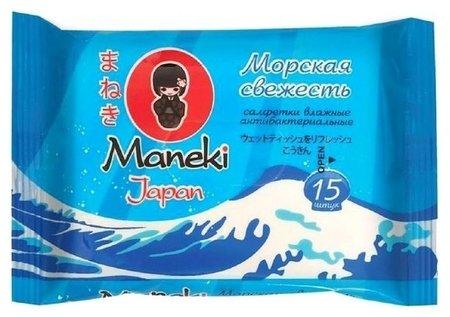 Салфетки влажные антибактериальные Морская свежесть  MANEKI
