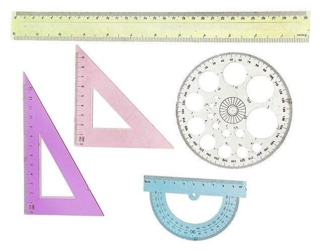 Набор геометрический, чертежный: линейка 30 см, 2 треугольника, транспортир, трафарет окружности Calligrata