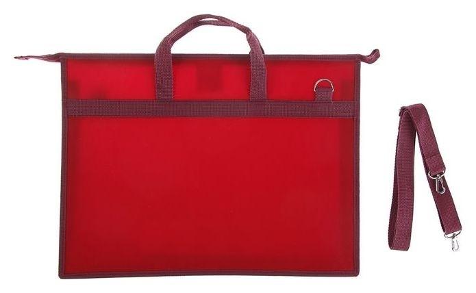 Папка А3, с ручками, пластиковая, молния сверху, 420 х 343 х 50 мм, «Оникс», ПР 5, плечевой ремень, цвет бордовый  Оникс