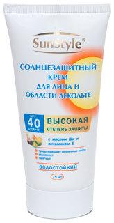 Солнцезащитный крем для лица и области декольте SPF 40 водостойкий  Sun Style