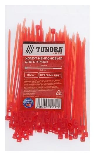 Хомут нейлоновый Tundra Krep, для стяжки, 2.5х100 мм, цвет красный, в упаковке 100 шт.  Tundra