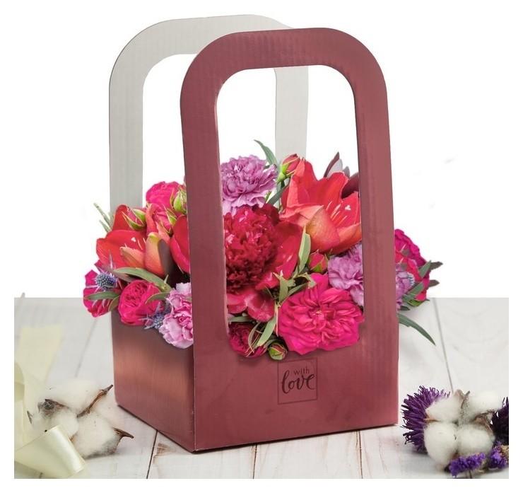 Коробка-переноска для цветов With Love, 12 × 12 × 22 см Дарите счастье