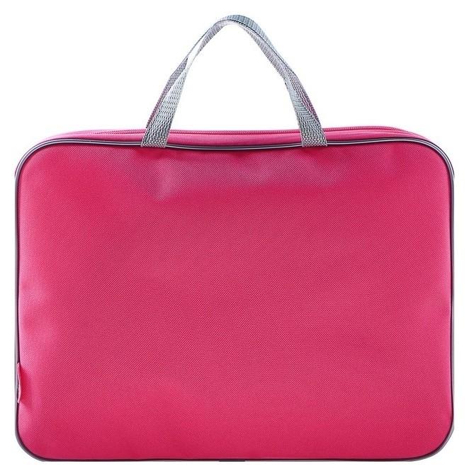 Папка с ручками, текстильная, А4, 350 х 265 х 45 мм, «Оникс», ПМД 2-42, внутренний карман, «офис», цвет розовый-серый Оникс