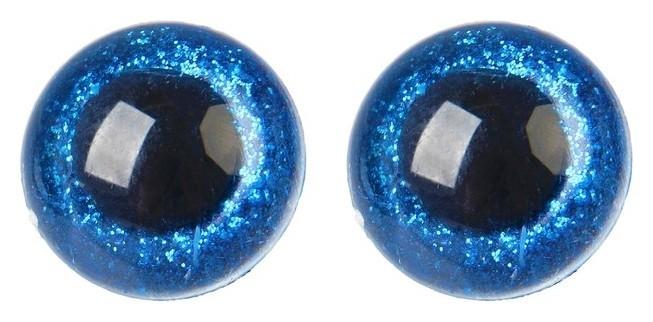 Глаза винтовые с заглушками, «Блёстки» набор 18 шт, размер 1 шт: 2,4 см, цвет синий NNB