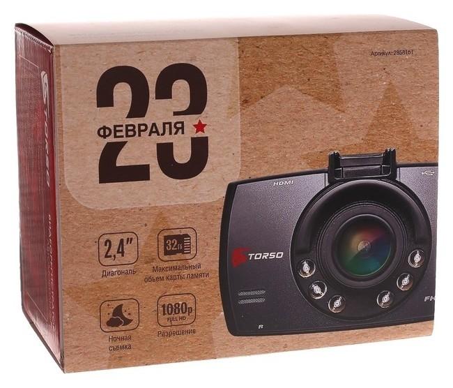 """Видеорегистратор Torso """"23 февраля"""", разрешение HD 1920x1080p, TFT 2.4, угол обзора 100°  Torso"""