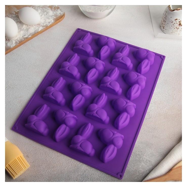 Форма для выпечки доляна «Пасхальный кролик», 30×23 см, 16 ячеек (6×5 см) Доляна