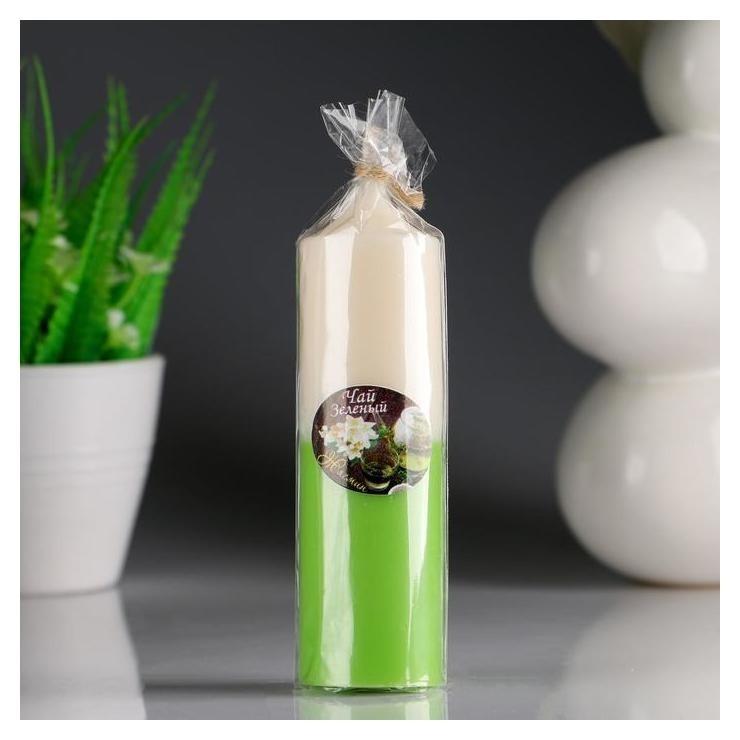 Свеча- цилиндр Жасмин- зелёный чай ароматическая, 4×13,5 см NNB
