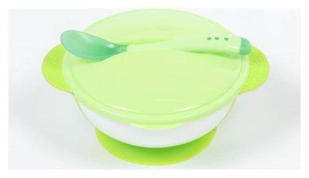 Набор для кормления, 3 предмета: миска 350 мл на присоске, крышка, ложка, цвет зелёный  Крошка Я