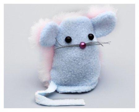 "Игрушка для кошачьей мяты ""Мышь-ушастик"", на липучке, 8 х 7,5 х 1,5 см"