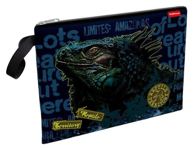 Папка для тетрадей А4 молния сверху ткань Erich Krause мал Iguana, синий 49090  Erich krause