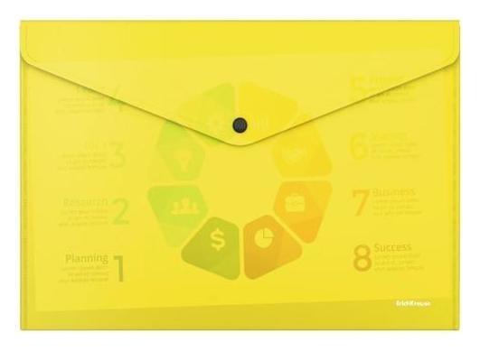 """Папка-конверт на кнопке А4 Erichkrause """"Glossy Neon"""", непрозрачная, 180 мкм, желтая  Erich krause"""