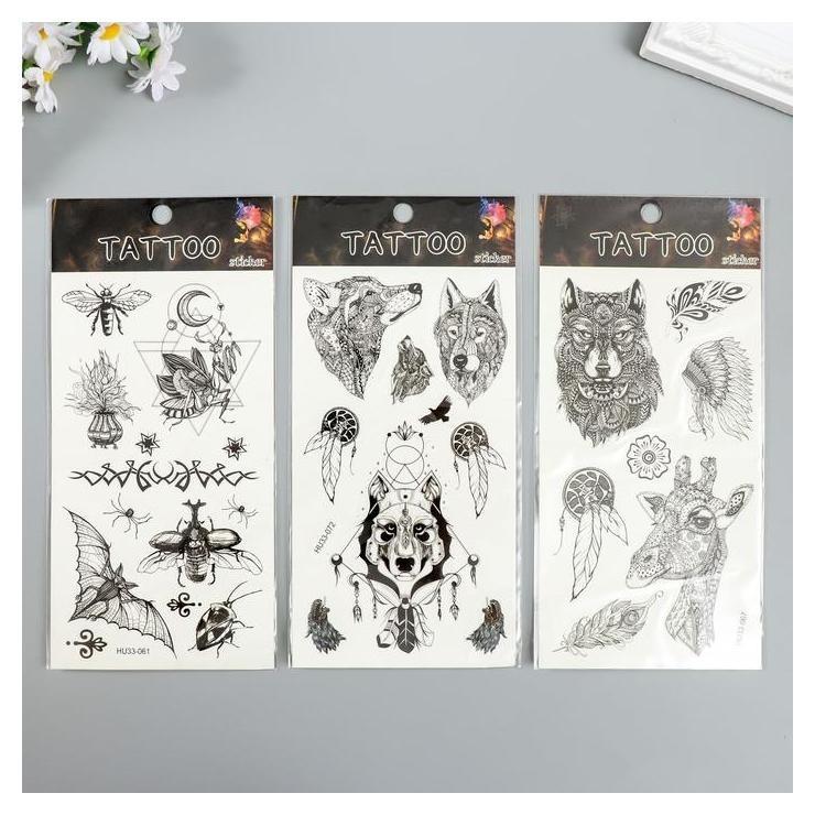 Татуировка на тело чёрная Животные 22х10,5 см NNB