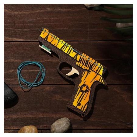 Сувенир деревянный «Резинкострел, жёлтые линии» + 4 резинки NNB