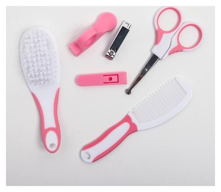 Набор по уходу за ребёнком, 6 предметов: детская расчёска, щётка, книпсер с чехлом, безопасные ножницы с колпачком, для девочки  Крошка я