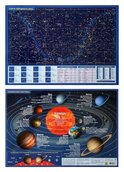 Планшетная карта солнечной системы/ звездного неба, А3, двусторонняя. Издательство Руз КО