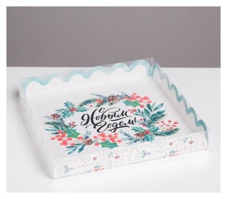 Коробка для кондитерских изделий с PVC крышкой «С новым годом», 21 × 21 × 3 см  Дарите счастье