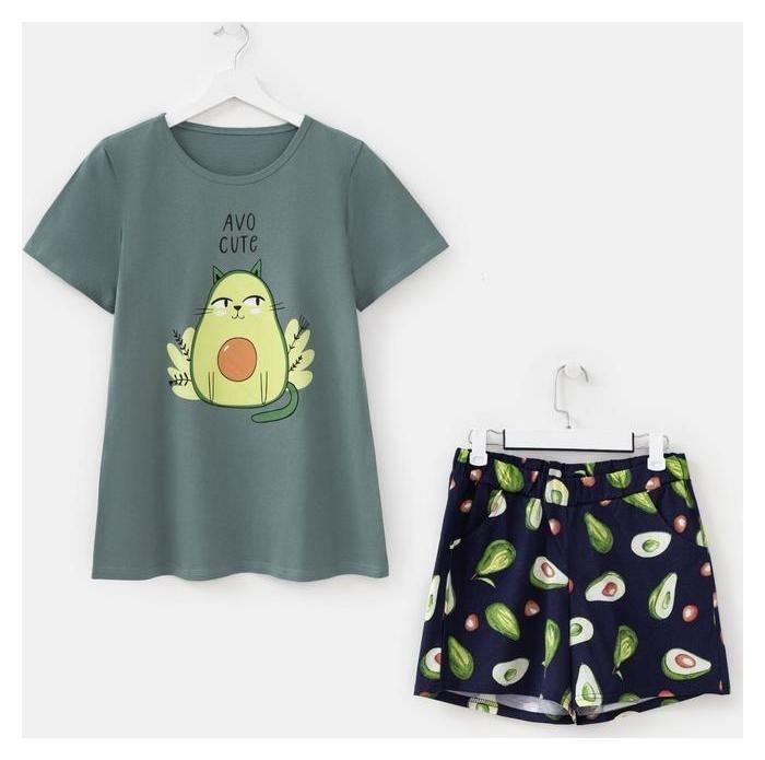 Комплект женский (Футболка, шорты), цвет зелёный, размер 46  Дарья