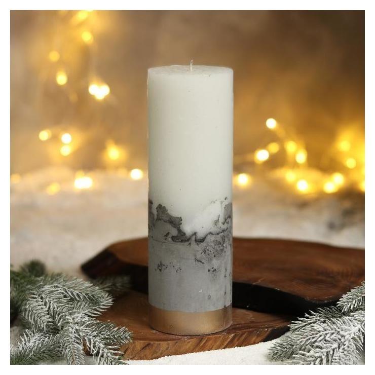 Свеча интерьерная белая с бетоном, низ золото, 26 х 8,5 см NNB