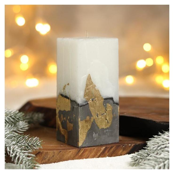 Свеча интерьерная белая с бетоном (Поталь), 6 х 6 х 14 см NNB