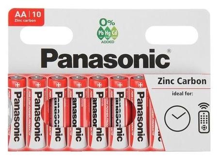 Батарейка солевая Panasonic Zinc Carbon, AA, R6-10bl, 1.5в, блистер, 10 шт.  Panasonic