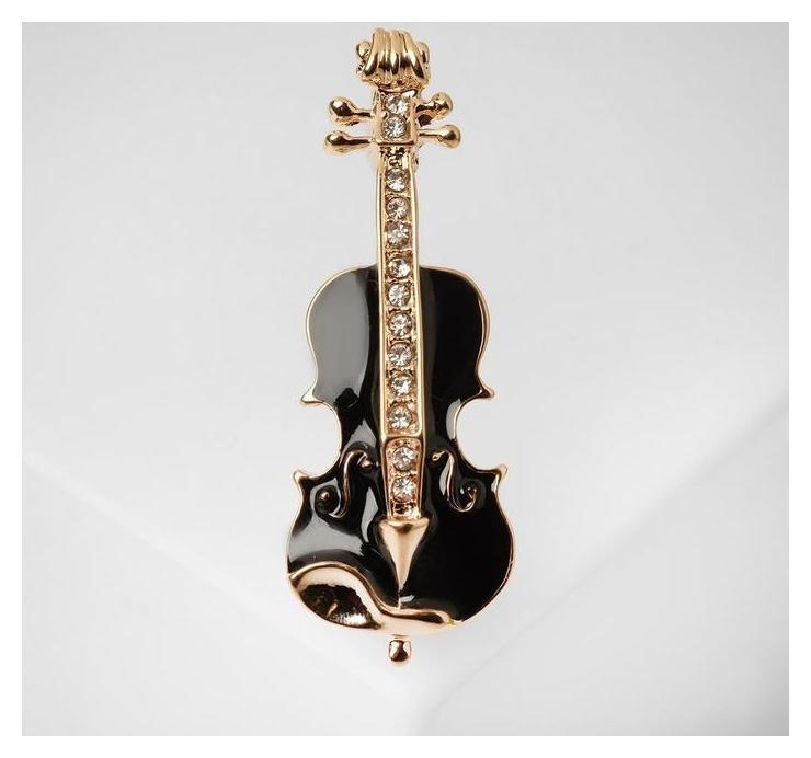 Брошь Скрипка, цвет чёрно-белый в золоте NNB
