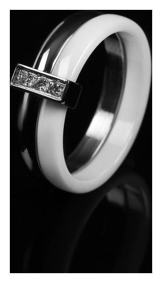 "Кольцо керамика ""Дуэт"", цвет белый в серебре, 16 размер  Vel Vett"