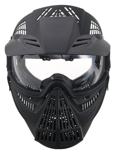 Очки-маска для езды на мототехнике, разборные, визор прозрачный, козырек, черный  NNB