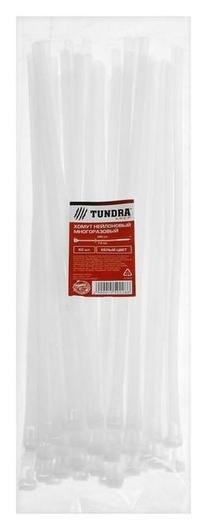 Хомут нейлоновый Tundra многоразовый 7.2 х 300 мм, белый, в упаковке 50 шт.  Tundra