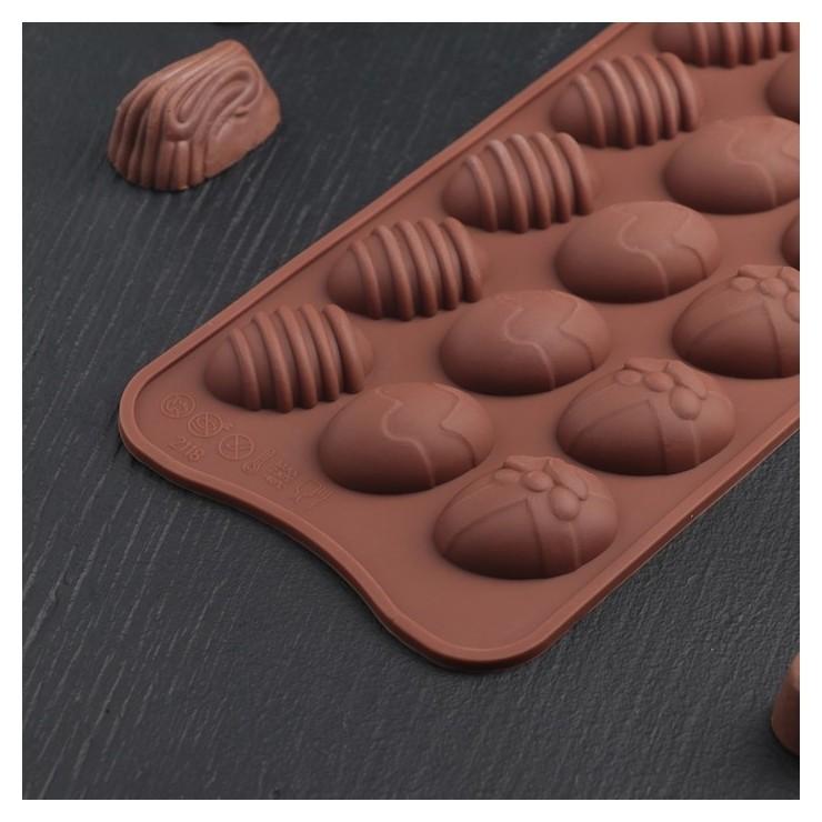 Форма для льда и шоколада «Пасхальные яйца», 22×10,5 см, 15 ячеек (3,2×2,5 см), цвет шоколадный Доляна