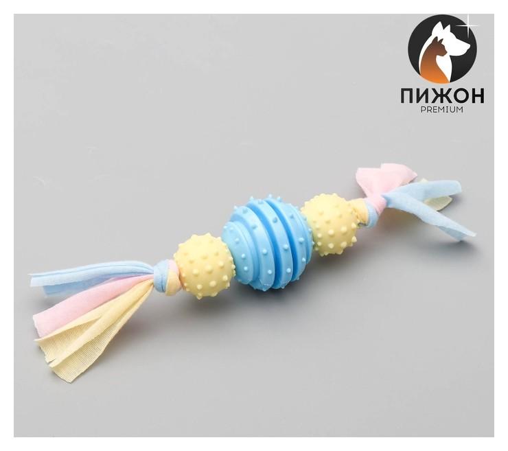 Игрушка жевательная для собак пижон Premium на верёвке, 3 элемента, термопластичная резина, 4  Пижон
