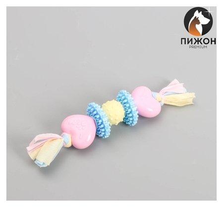 Игрушка жевательная для собак пижон Premium на верёвке, 5 элементов, термопластичная резина  Пижон