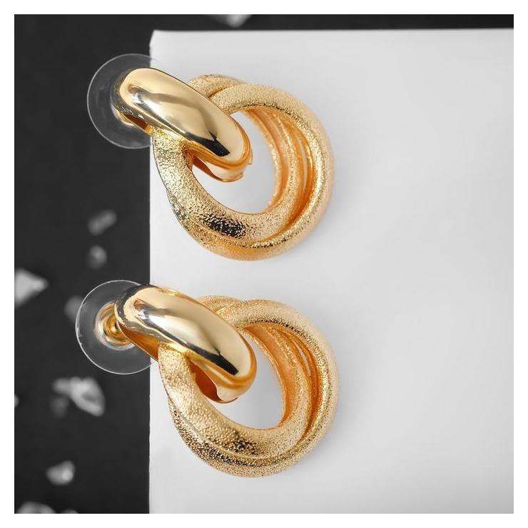 Серьги металл Фьюче круги плетения, цвет золото NNB