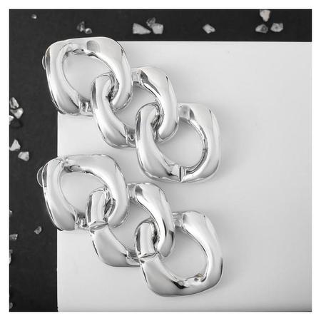 Серьги металл Цепь широкие звенья, 3шт, цвет серебро NNB