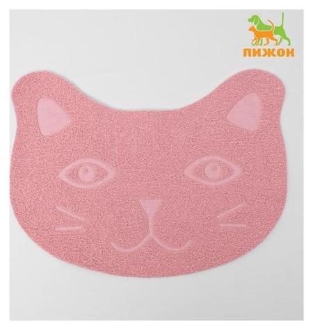 """Коврик для туалета животных """"Киса"""", 40 х 30 см, пепельно-розовый  Пижон"""