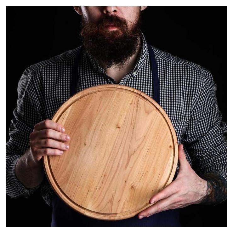 Доска для пиццы, D=31х1,5 см, массив ольхи Maysternya