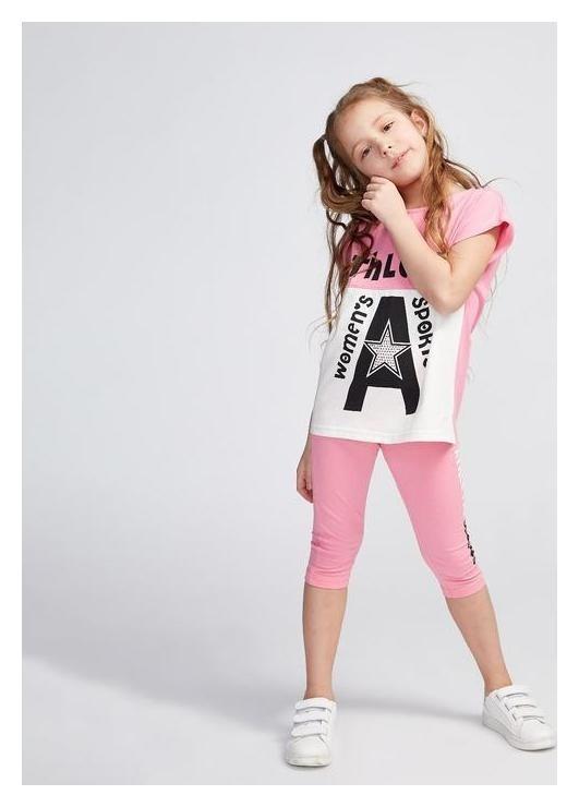 Комплект для девочки, цвет розовый/белый, рост 122 см (64)  Luneva