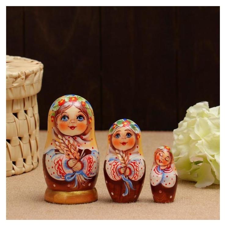 Матрёшка «Ксюша с колосками», 3 кукольная, 11 см NNB