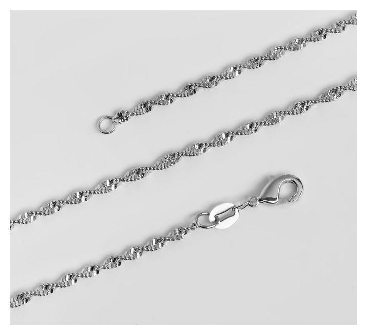 Цепь Узкий завиток мини, каплевидный карабин, цвет серебро, ширина 2 мм, L=46,5 см NNB