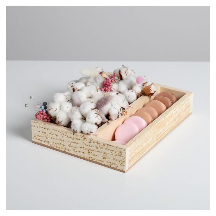 Ящик-кашпо подарочный «Надписи», 25,5 × 20 × 5 см  Дарите счастье