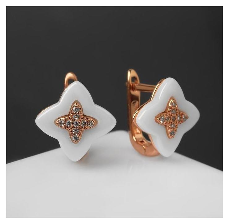 Пусеты керамика Цветок, цвет белый в золоте Vel Vett