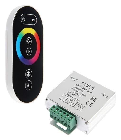 Контроллер Ecola, для RGB ленты, 12 В, 216 Вт, 18 А, черный сенсорный радиопульт Ecola