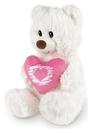 Мягкая игрушка «Мишка белый с сердцем», 30 см  Maxitoys