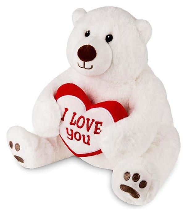 Мягкая игрушка «Медведь белый с сердцем», 23 см  Maxitoys