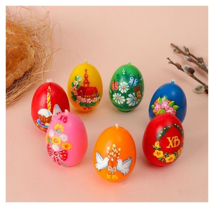 """Свеча """"Пасхальное яйцо с росписью"""", 4,1 х 6,5 см, 48 грамм  NNB"""