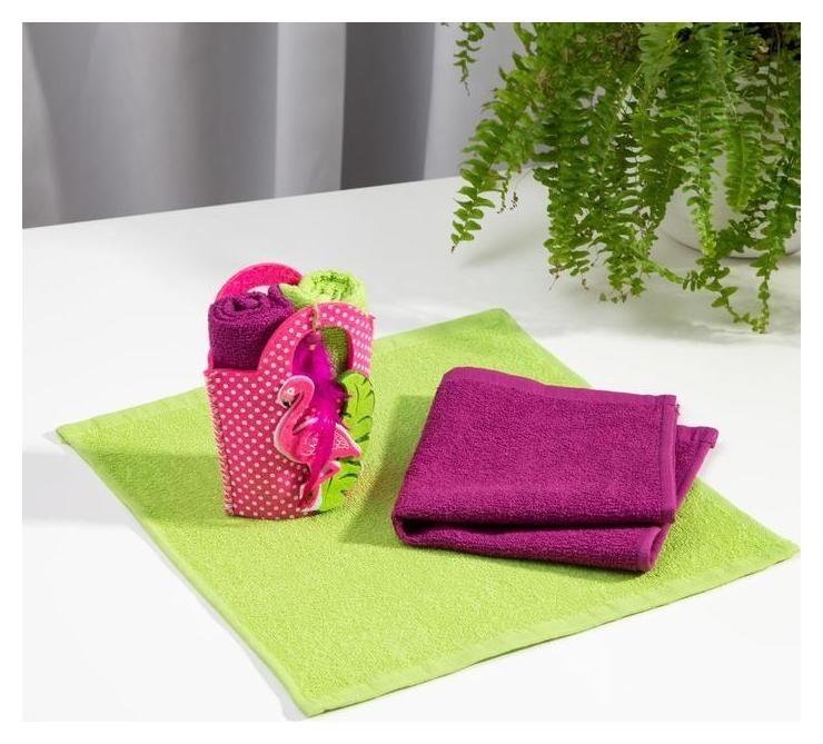 Набор полотенец в корзинке «Фламинго» 30х30 см  Этель